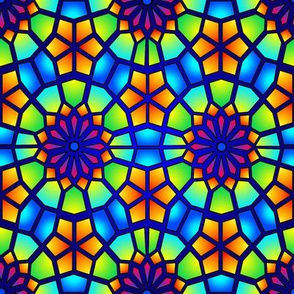 Stained Glass - Blue Islamic Stars