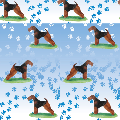 Terrier and pawprints fabric by altrincham on Spoonflower - custom fabric