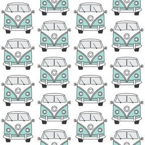 repeating blue camper van on white