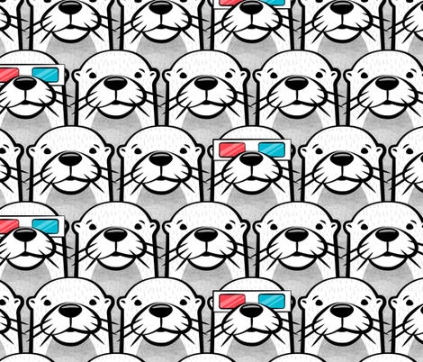 one cool otter - monochrome w/ 3D glasses fabric by littlearrowdesign on Spoonflower - custom fabric