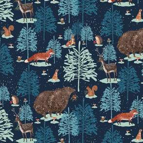 Winter forest  blue