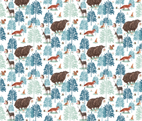 Winter forest snow fabric by susanmitchell on Spoonflower - custom fabric