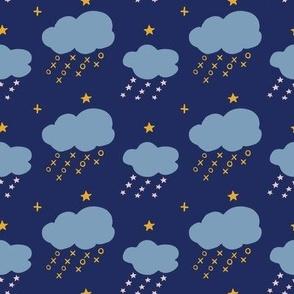 raining naughts and crosses - blue