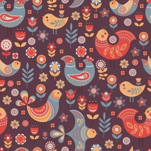 Pattern Nordic Style With Flowers and Birds.