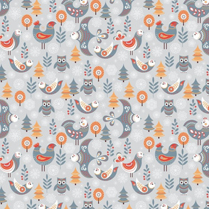 Winter seamless pattern with birds, trees, snowflakes.