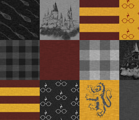 Witches and Wizards Wholecloth Quilt - Gold And Burgandy - Glasses, broomsticks, castles, and plaids fabric by sugarpinedesign on Spoonflower - custom fabric