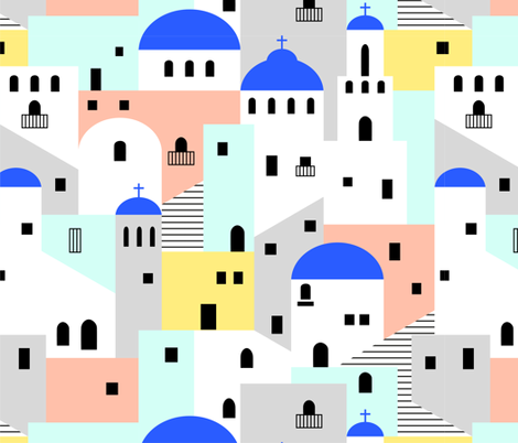 Santorini architecture fabric by tuppencehapenny on Spoonflower - custom fabric