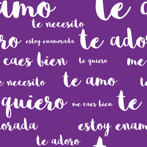 Spanish Loves in  Dark Purple fabric by thinlinetextiles on Spoonflower - custom fabric