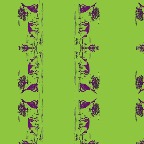 """Bush_hounds1_Purple on lime_for_2""""_collars fabric by cloudsong_art on Spoonflower - custom fabric"""