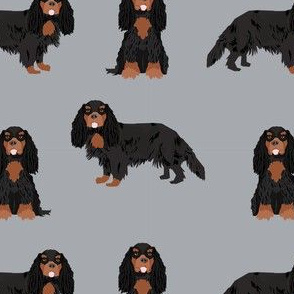 cavalier king charles spaniel black and tan dog fabric  grey