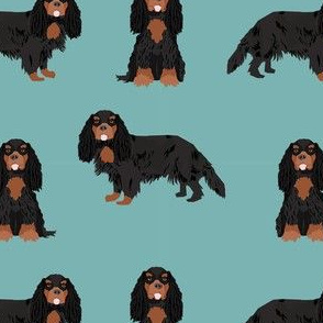 cavalier king charles spaniel black and tan dog fabric turquoise