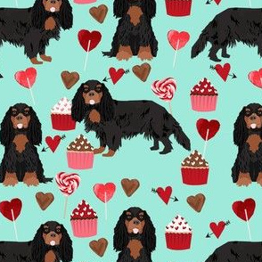 cavalier king charles spaniel black and tan valentines cupcakes love hearts dog fabric mint