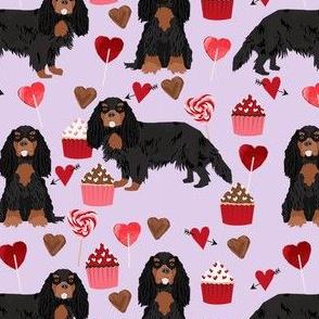 cavalier king charles spaniel black and tan valentines cupcakes love hearts dog fabric purple