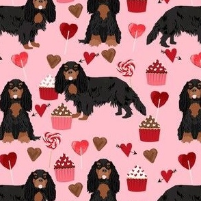 cavalier king charles spaniel black and tan valentines cupcakes love hearts dog fabric pink