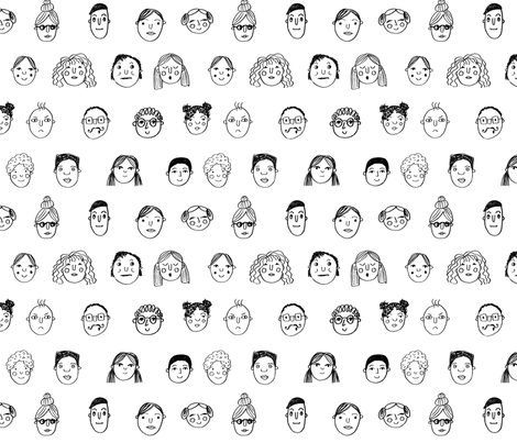faces // people face fabric city life doodle white and black fabric by andrea_lauren on Spoonflower - custom fabric