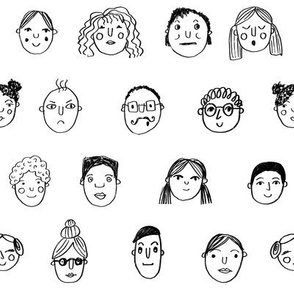 faces // people face fabric city life doodle white and black