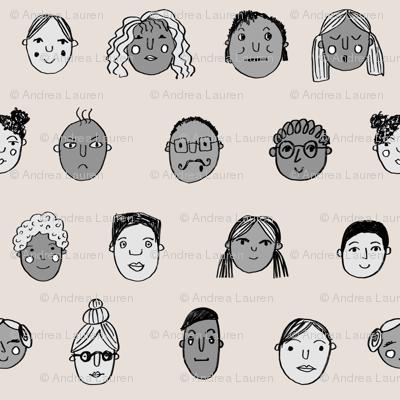 faces // people face fabric city life doodle tan