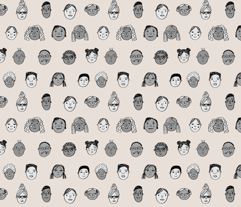 faces // people face fabric city life doodle tan fabric by andrea_lauren on Spoonflower - custom fabric