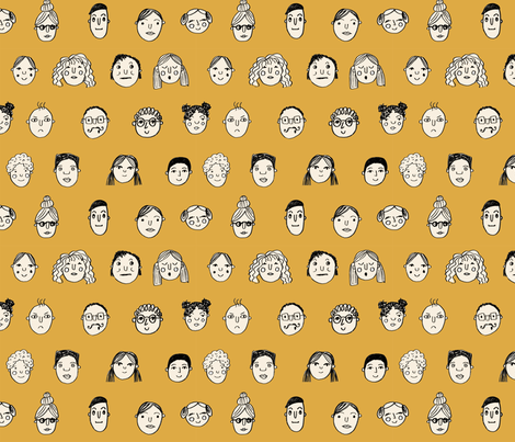 faces // people face fabric city life doodle mustard fabric by andrea_lauren on Spoonflower - custom fabric