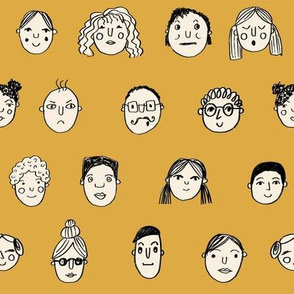 faces // people face fabric city life doodle mustard