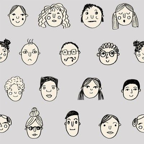 faces // people face fabric city life doodle grey