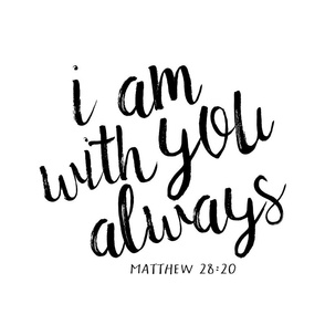 minky fat quarter panel - I am with you always || monochrome typography