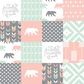 woodland patchwork - I am fearfully and wonderfully made  - grey, mint, pink, peach v2