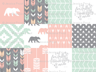 woodland patchwork - I am fearfully and wonderfully made  - grey, mint, pink, peach v1