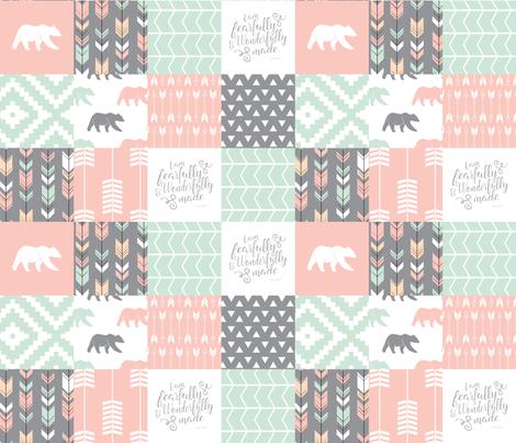 woodland patchwork - I am fearfully and wonderfully made  - grey, mint, pink, peach v1 fabric by littlearrowdesign on Spoonflower - custom fabric
