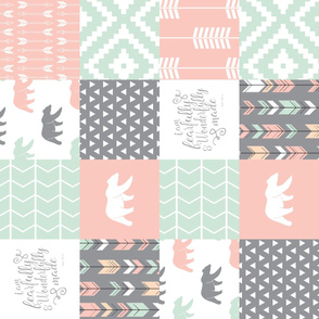 woodland patchwork - I am fearfully and wonderfully made  - grey, mint, pink, peach v2 (90)
