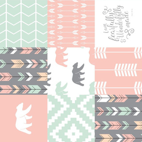 woodland patchwork - I am fearfully and wonderfully made  - grey, mint, pink, peach v1 (90)