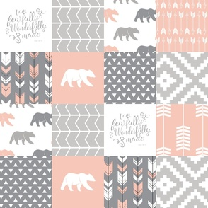 fearfully and wonderfully made patchwork - salmon peach and grey