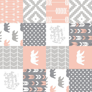 fearfully and wonderfully made patchwork - salmon peach and grey (90)