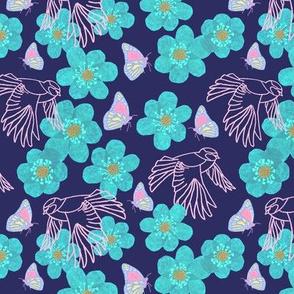 Bluetit Birds and Butterflies