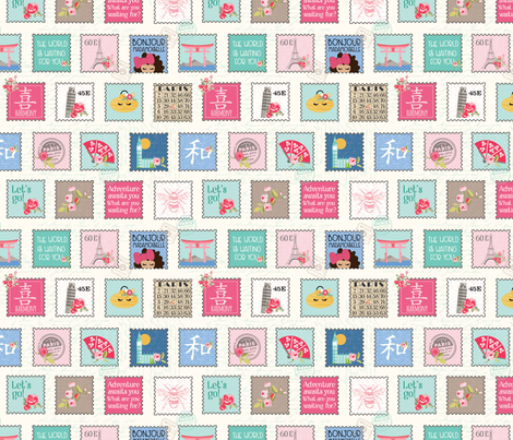 Postage Stamps fabric by julie_nutting on Spoonflower - custom fabric