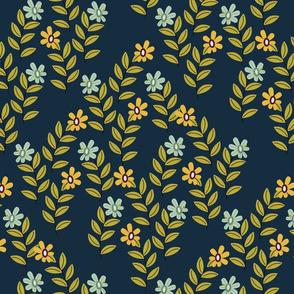 Leafy scene blue