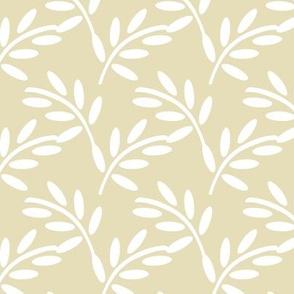 White Modern Leaf Shapes on Pastel Ivory, Garden Plants, Breezy Botanicals