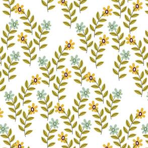 Leafy scene white