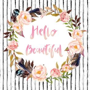 "54""x36"" / Hello Beautiful Minky Upright / Floral Wreath"