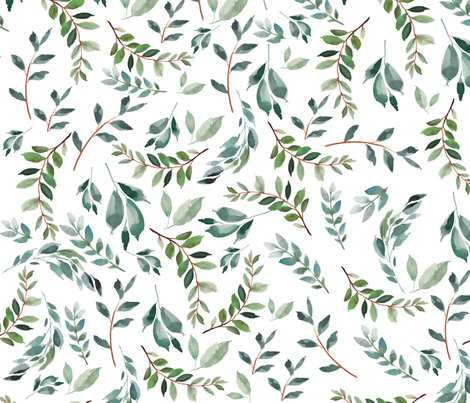 "43"" Wild at Heart Branches / White fabric by shopcabin on Spoonflower - custom fabric"
