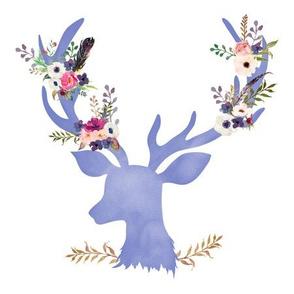"""9"""" Quilting Block / Purple Floral Deer"""