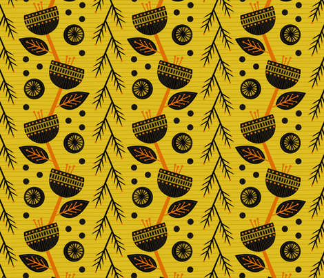 Flowers of Africa (Gold) fabric by robyriker on Spoonflower - custom fabric