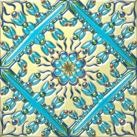 Spanish Tile 4 3-D fabric by eclectic_house on Spoonflower - custom fabric