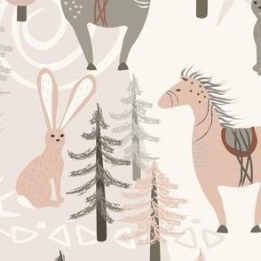 Cave Horse - Pink, Mushroom