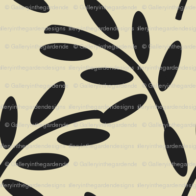 Black Leaves on a Champagne Taupe Background, Bold and Strong