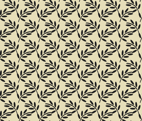 Black Leaves on a Champagne Taupe Background, Bold and Strong fabric by galleryinthegardendesigns on Spoonflower - custom fabric