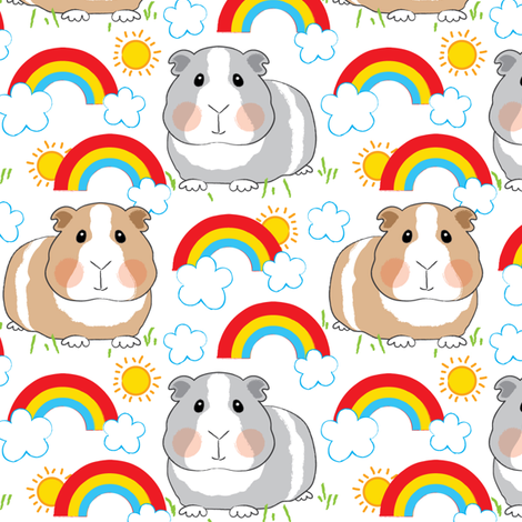 guinea-pigs-and-rainbows-on white fabric by lilcubby on Spoonflower - custom fabric