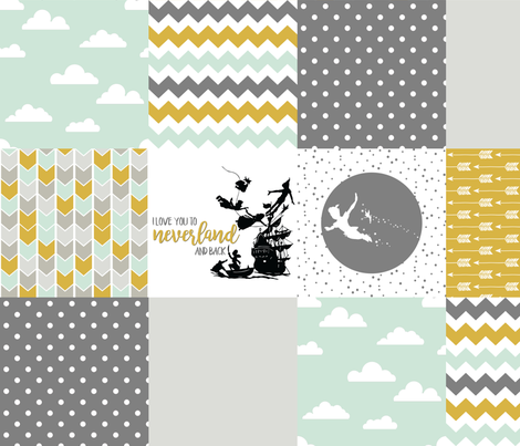 Neverland // Peter Pan Style - Wholecloth cheater quilt  fabric by longdogcustomdesigns on Spoonflower - custom fabric