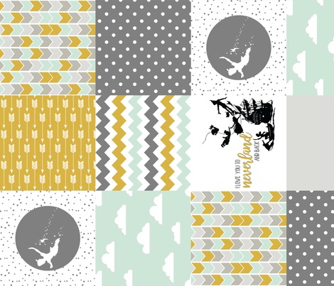 Neverland // PeterPan Wholecloth Cheater Quilt - Rotated fabric by longdogcustomdesigns on Spoonflower - custom fabric