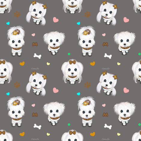 Maltese Fashionista Pack S fabric by catialee on Spoonflower - custom fabric
